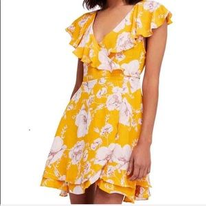 Free people yellow floral wrap sundress